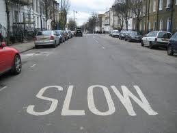 road with slow marked